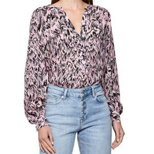 Reiss Gwen Feather Print Pink Blouse